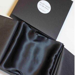 Itališko šilko pagalvės užvalkalas juodos spalvos